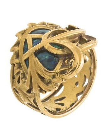 Peacock feather ring, designed by Alphons Mucha and made by Georges Fouquet, Paris, circa 1900.
