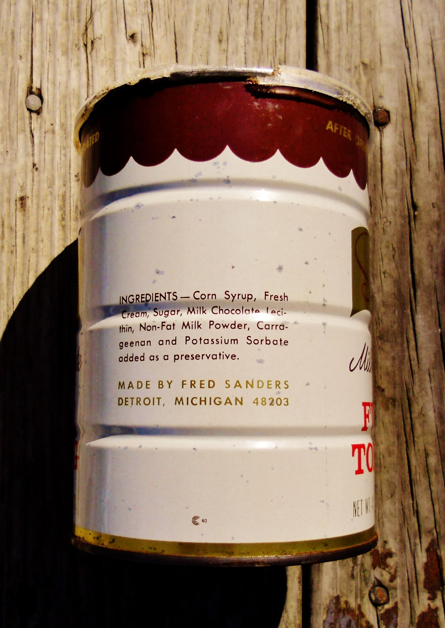 Sanders Milk Chocolate Fudge Topping 42 OZ. can, side view ...