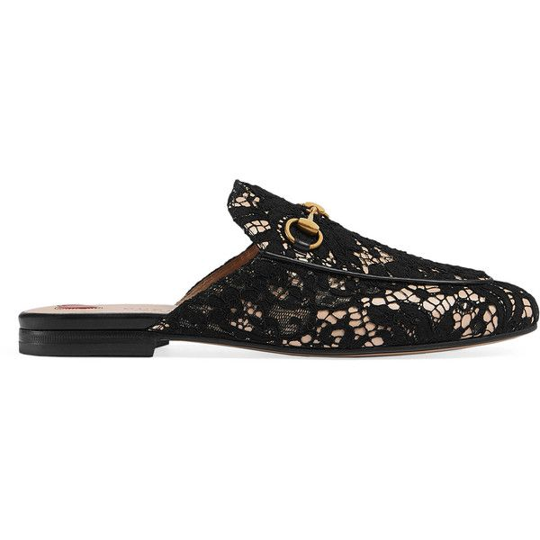 e7ee73264 Gucci Princetown Lace Slipper (1 022 370 LBP) ❤ liked on Polyvore featuring  shoes, slippers, slides & mules and women