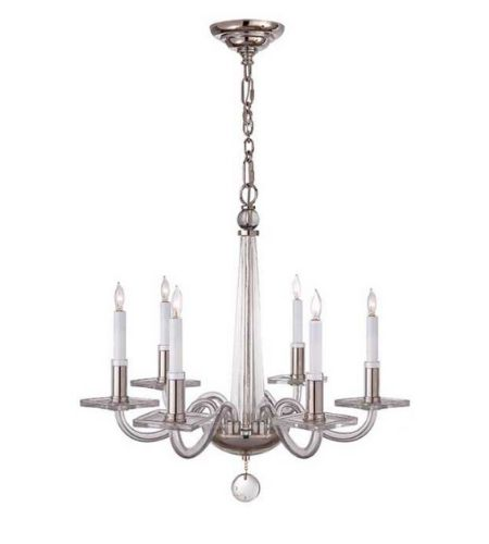 Visual Comfort Chc1139pn E F Chapman Robinson Small Chandelier In Polished Nickel And Clear