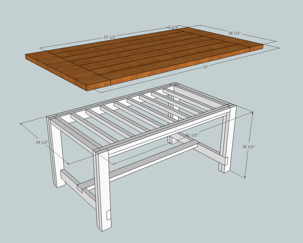 Rustic Farmhouse Table Plans | Showing The Tabletop And The Base Separately  So You Can Get