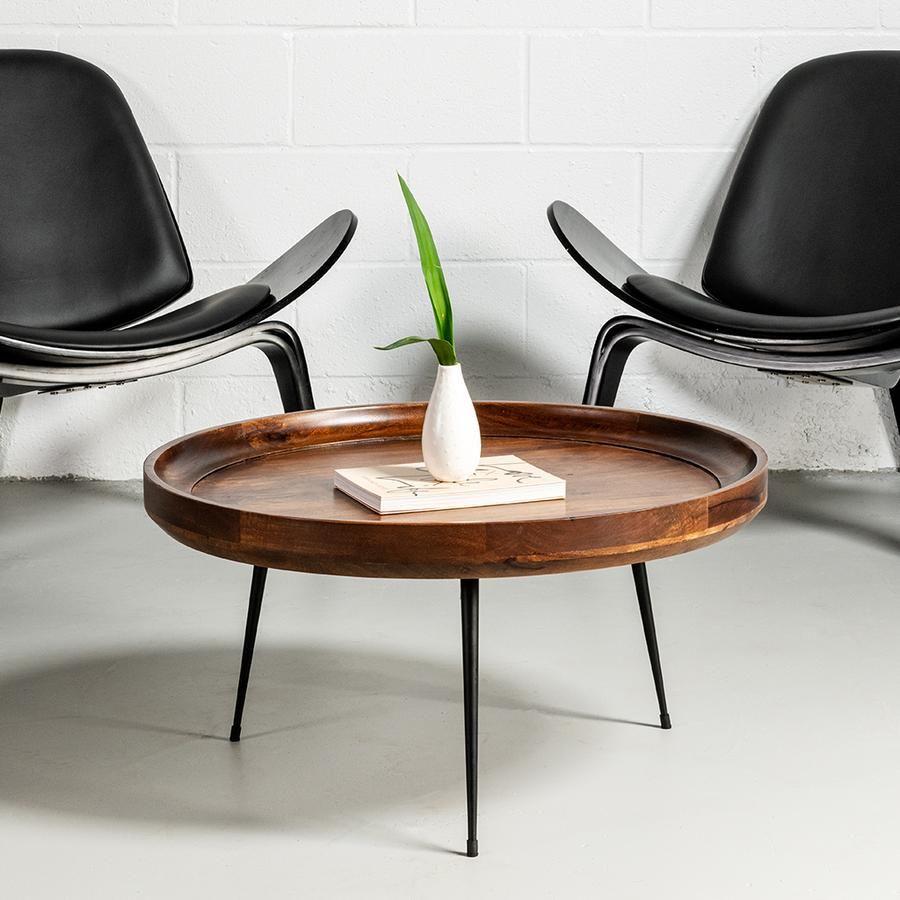 Selma Walnut Mango Wood Mid Century Modern Round Coffee Table With M Wazo Furniture Round Coffee Table Modern Round Coffee Table Coffee Table [ 900 x 900 Pixel ]