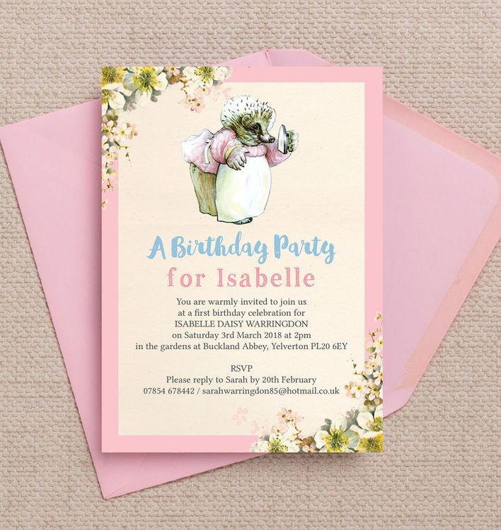 Mrs Tiggy Winkle Birthday Party Invitation | Kids birthday party ...