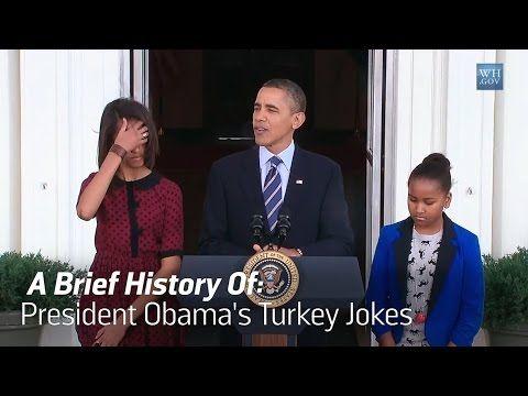 President Obama Cracks Some Brilliant Dad Jokes During Thanksgiving Turkey Pardon Youtube Turkey Jokes Barack Obama Dad Jokes