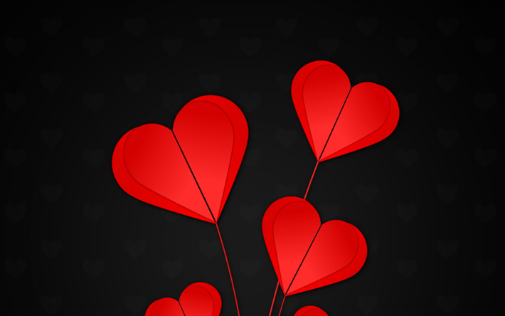 Download Wallpapers Red Hearts 4k Origami Creative Hearts Black Background Besthqwallpapers Com Love Wallpaper Red Heart Origami