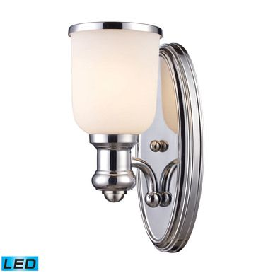 ELK Lighting Brooksdale 1 Light LED Wall Sconce In Polished Chrome White Glass | Products | Pinterest | Elk Wall sconces and Elk lighting  sc 1 st  Pinterest & ELK Lighting Brooksdale 1 Light LED Wall Sconce In Polished Chrome ... azcodes.com