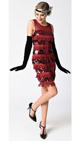 3150a617753d 1920s Style Burgundy Red Sleeveless Mesh Sequin & Fringe Flapper Dress