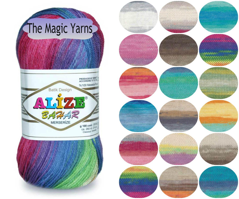 Alize Bahar Batik Soft 8 Ply Cotton Yarn Summer Yarn Batik Colors Dk Yarn Medium 8ply Cotton Yarn Mercerised Cotton Yarn Crochet Yarn Summer Yarn Yarn Crochet With Cotton Yarn