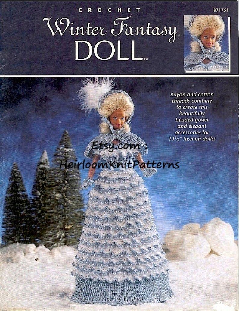 Barbie crochet pattern winter fantasy fashion dolls