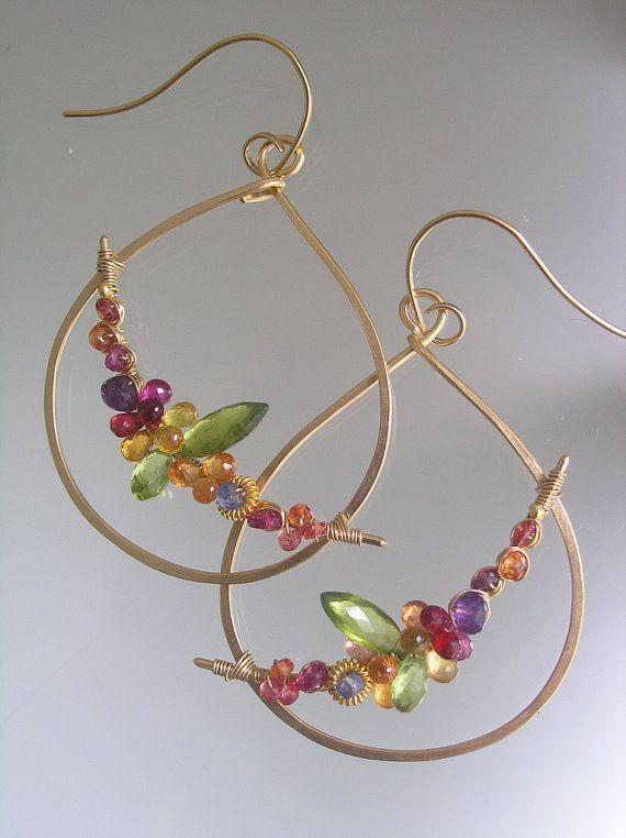 Unique twist on hoops. Gemstone Teardrop Hoop Earrings Gold Filled by bellajewelsII