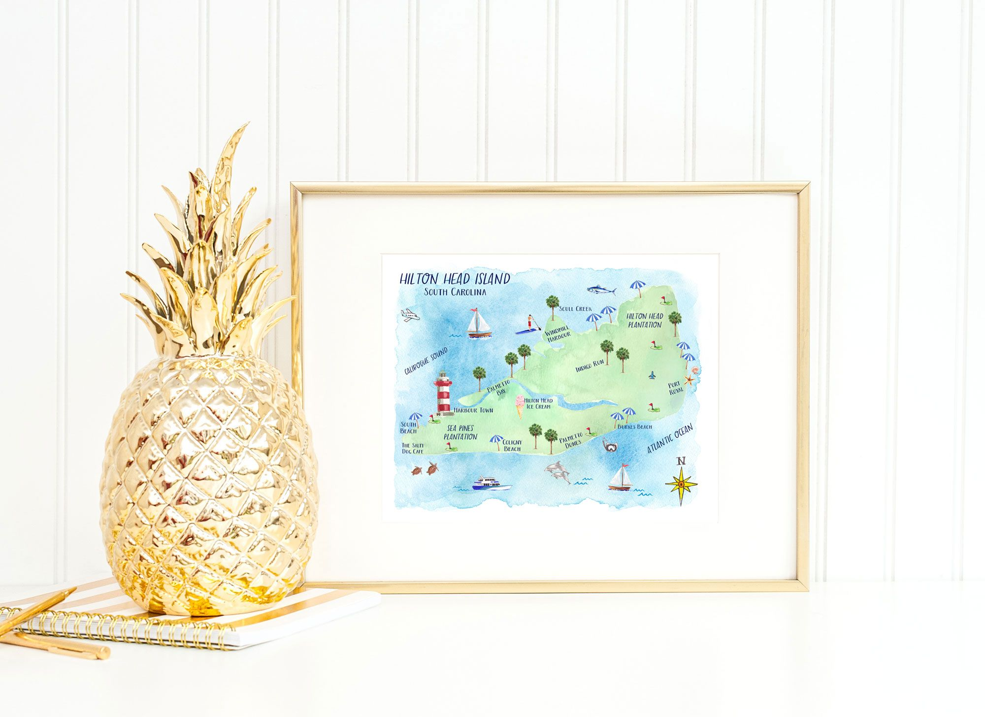 Hand Painted Watercolor Town Map Of Hilton Head Island By Artist Michelle Mospens Map Art Print Map Wall Art Hilton Head Island Map