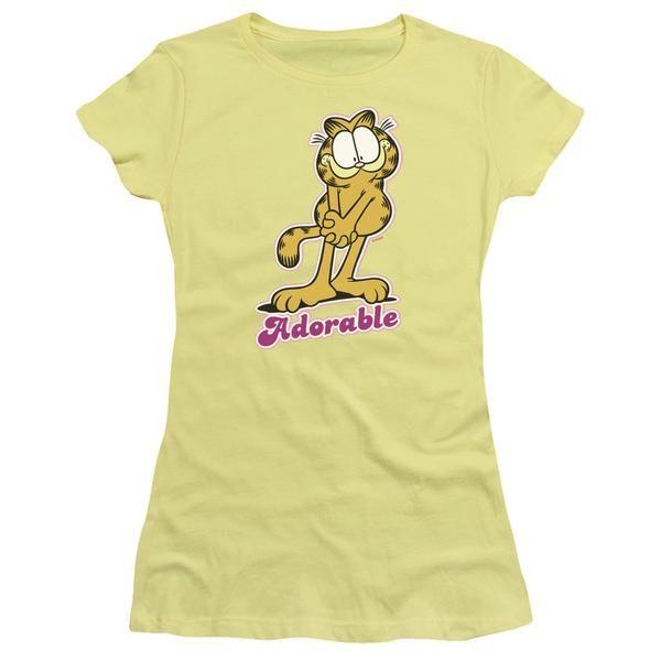 GARFIELD/ADORABLE-S/S JUNIOR SHEER-BANANA-2X  ADORABLE | Cartoon T-Shirts | Mopixiestore.com