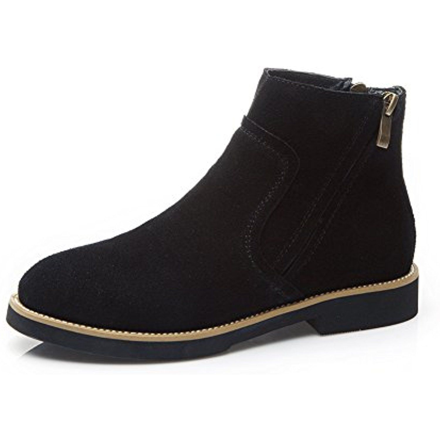 Women's Military Combat Slip On Ankle High Fashion Suede Boots SN268