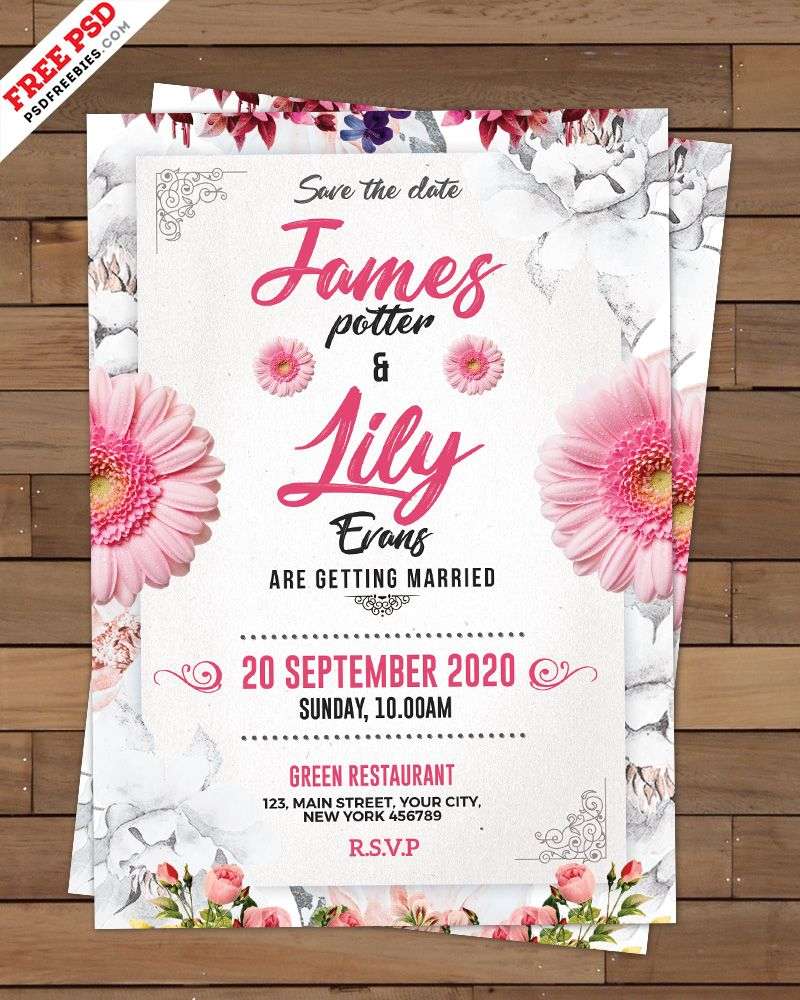 Wedding Invitation Card Template PSD  Wedding invitation cards