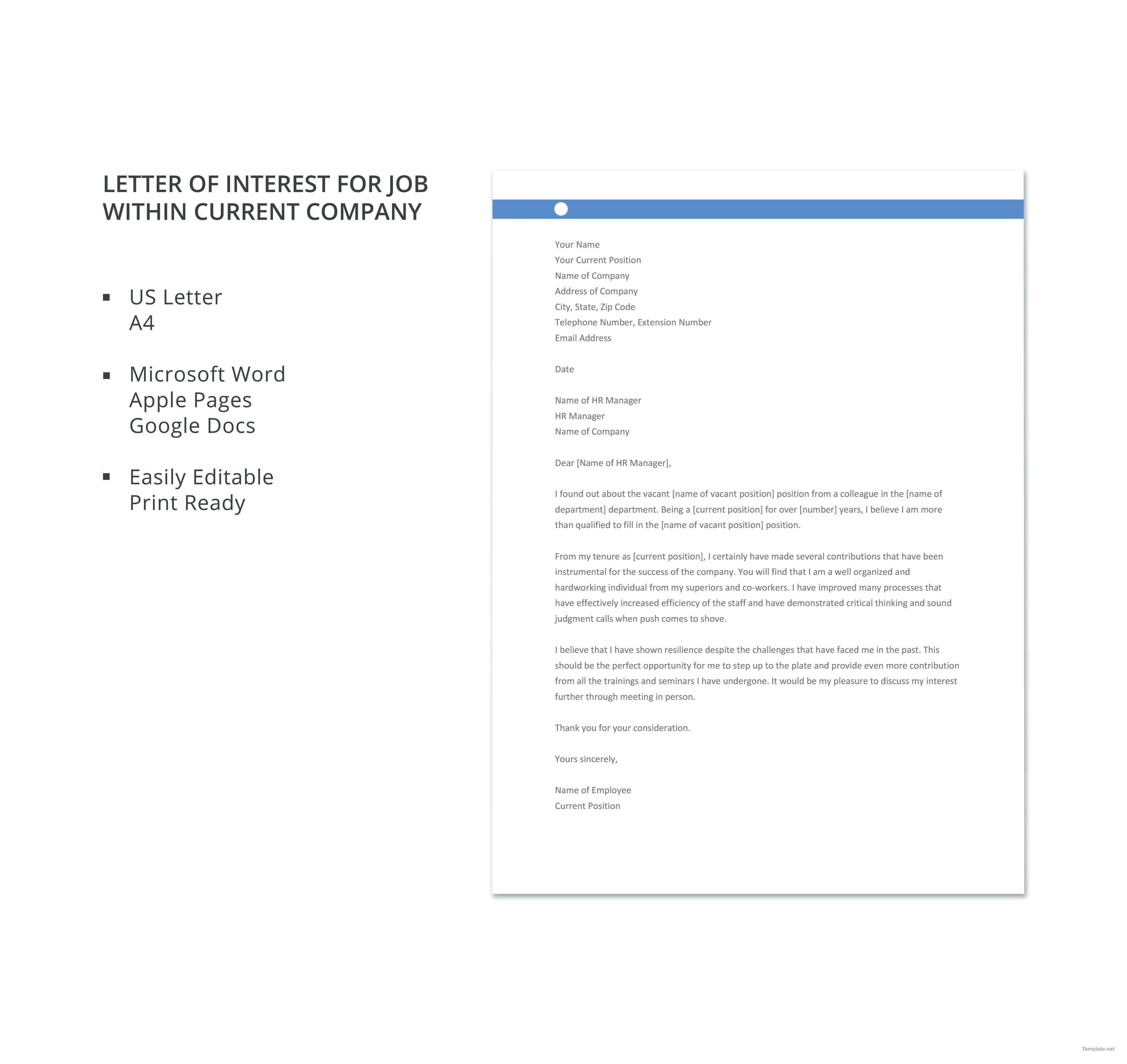 Free Letter Of Interest For Job Within Current Company Lettering