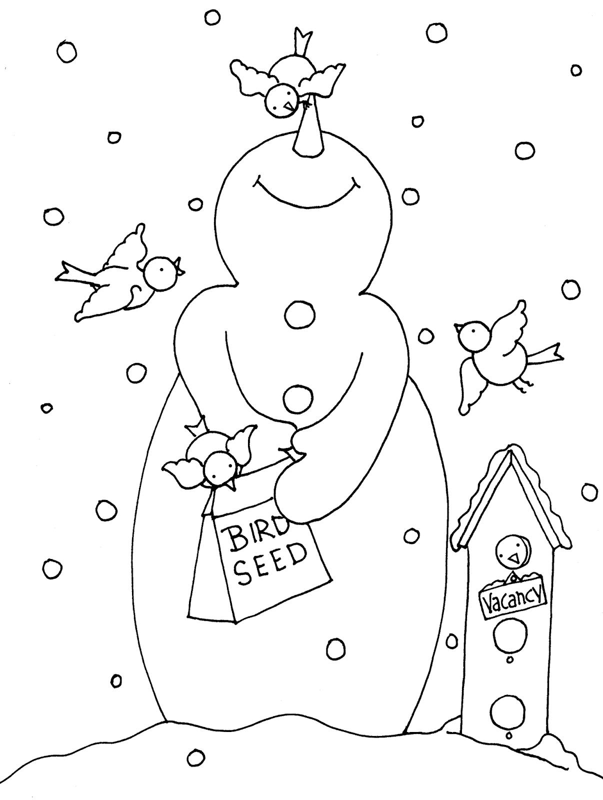 Free Dearie Dolls Digi Stamps Snowman Bird Feeder