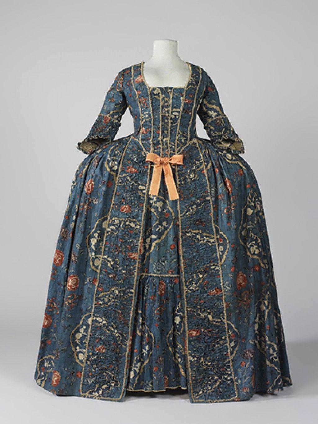 Court dress, robe à la francaise, France, c. 1760.