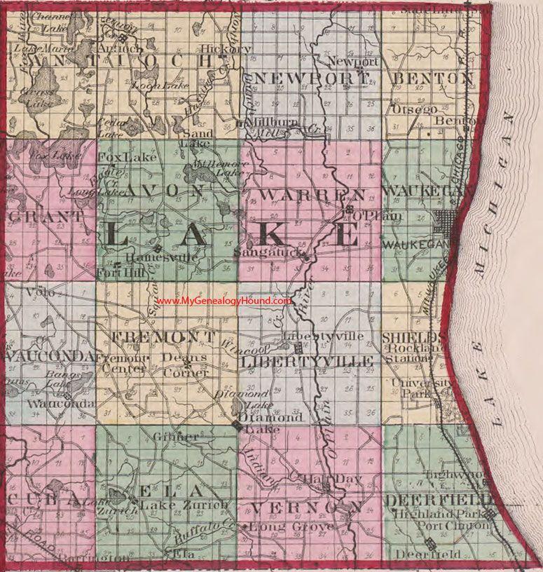 Lake county illinois 1870 map waukegan libertyville