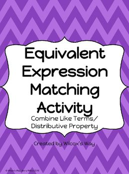 Equivalent Expressions Matching Activity | 8th grade math ...