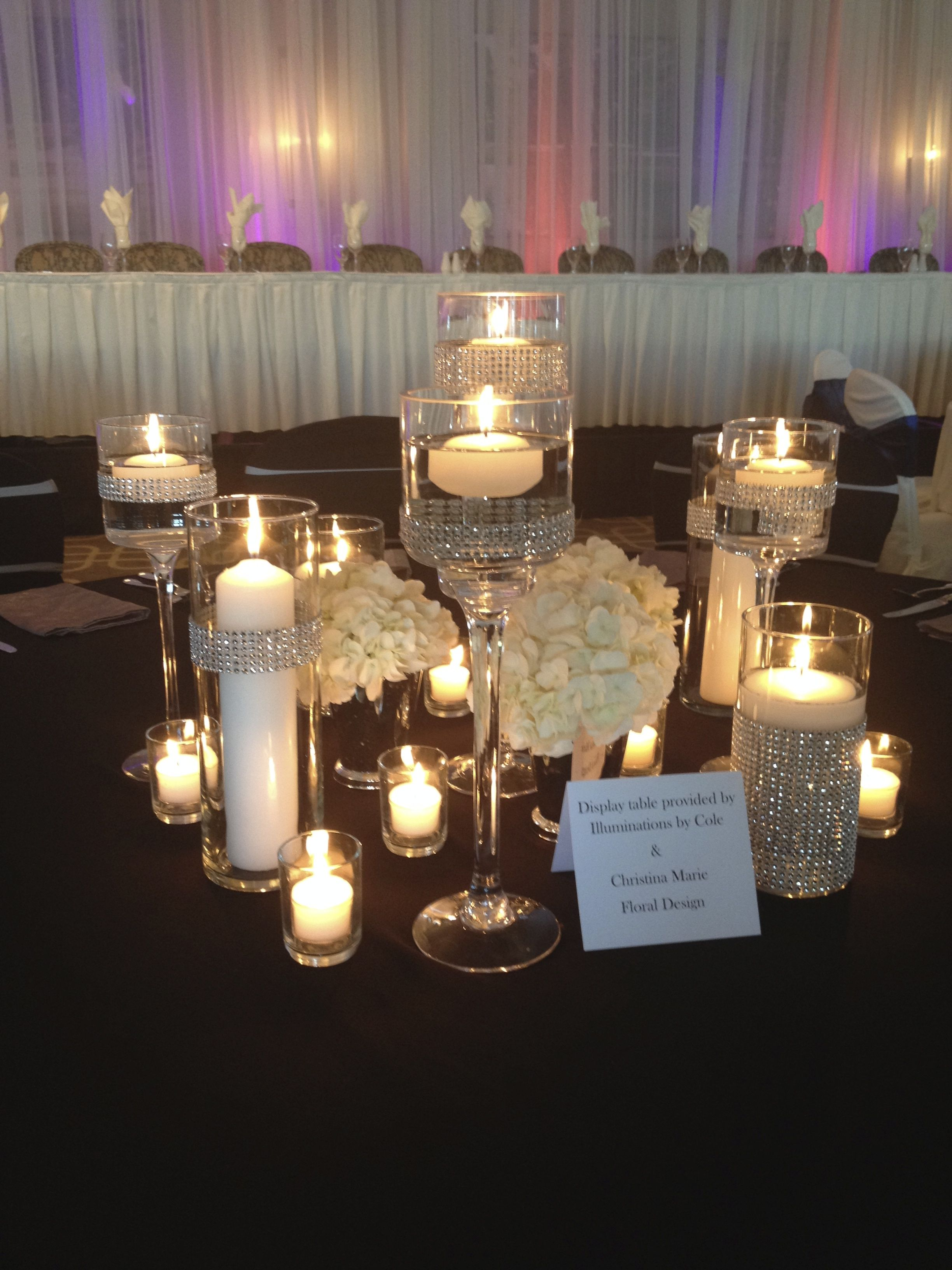 25th wedding decoration ideas  Candle centerpiece black and silver wedding lots of candles