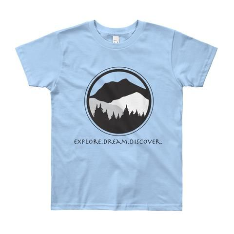 Youth Short Sleeve T-Shirt with Explore.Dream.Discover on front and #KeepItWild on back of shirt.