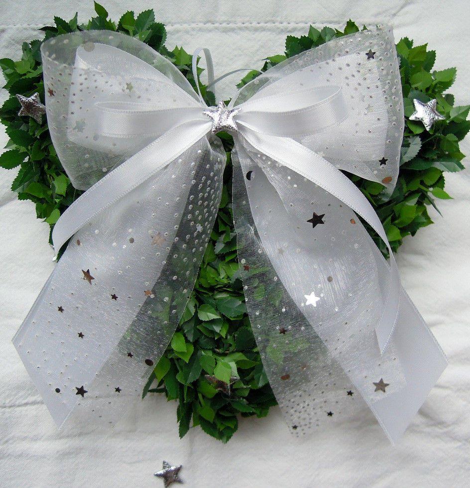 Details Zu 2 4 10 Weihnachtsschleifen Weiss Silber Sterne