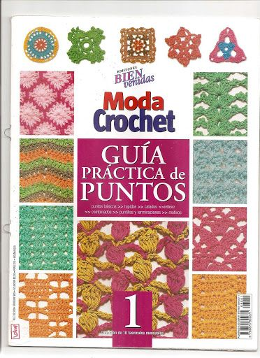 Free crochet edging, motif, square and stitch patterns. Each page of book visible with chart diagrams.