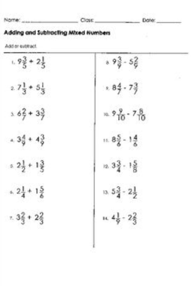 Addition And Subtraction Mixed Worksheets In 2021 Fractions Worksheets Math Fractions Worksheets Fraction Word Problems Addition of fractions mixed numbers