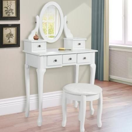 Vanity Table Jewelry Makeup Desk Bench Drawer White Solid Wood Construction New Walmart Com White Vanity Table Vanity Table Set Vanity Table