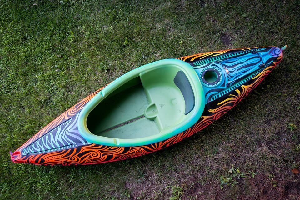 Painted My Kayak Then Took A Sharpie And Doodled On It Kayak Painting Doodles Kayak Accessories Kayak Camping Inflatable Kayak