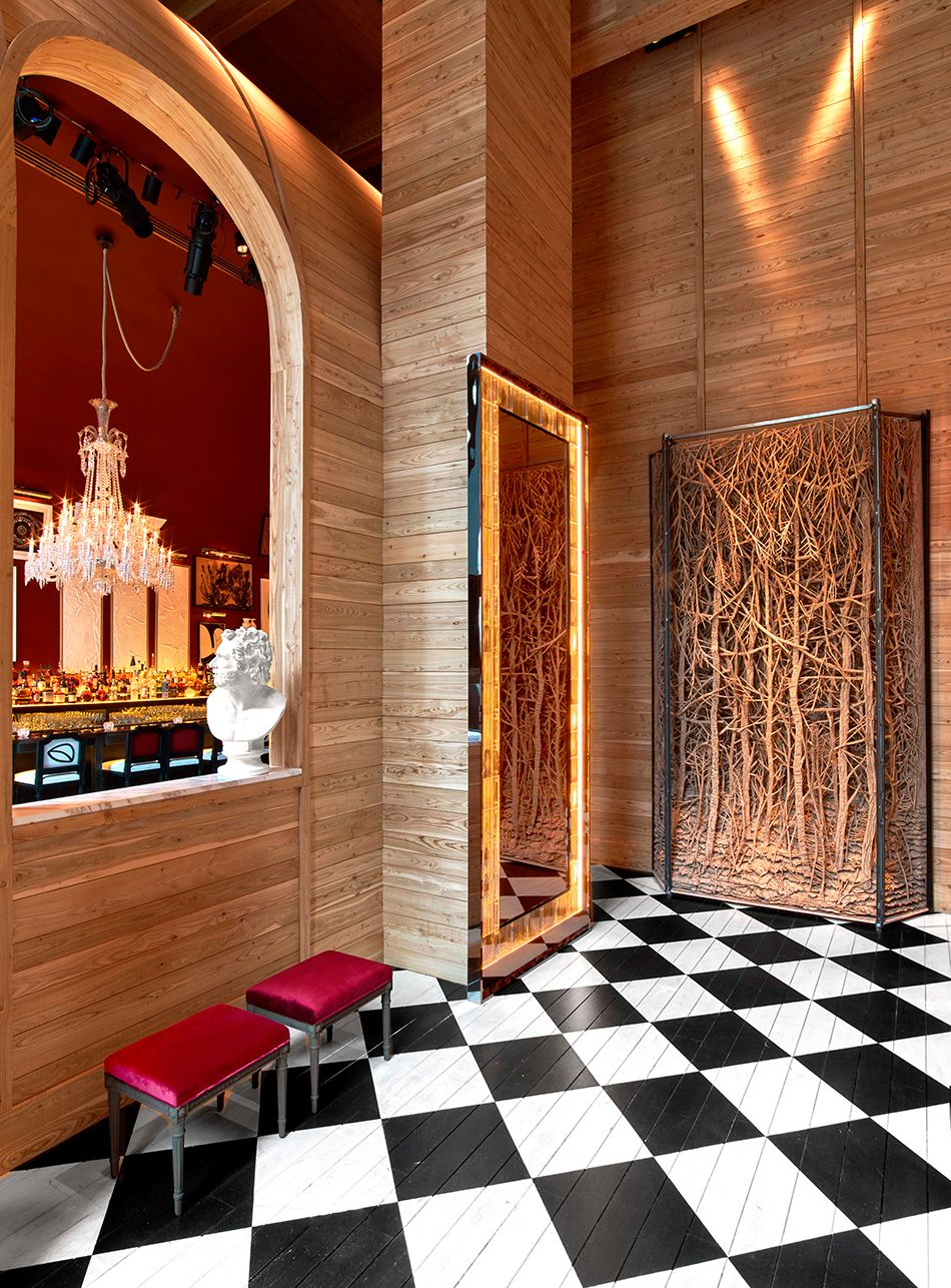 The Baccarat Hotel in New York City Checkered floors  Baccarat chandeliers  Hotels