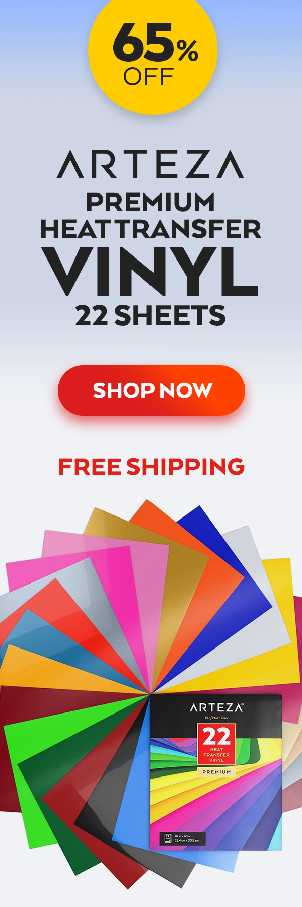 Arteza Heat Transfer Vinyl Heat Transfer Vinyl 22 Sheets Assorted Colors 10x12 Diy