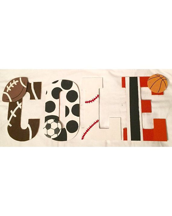 Basketball Themed Wooden Wall Letters  Nursery Decor  Basketball