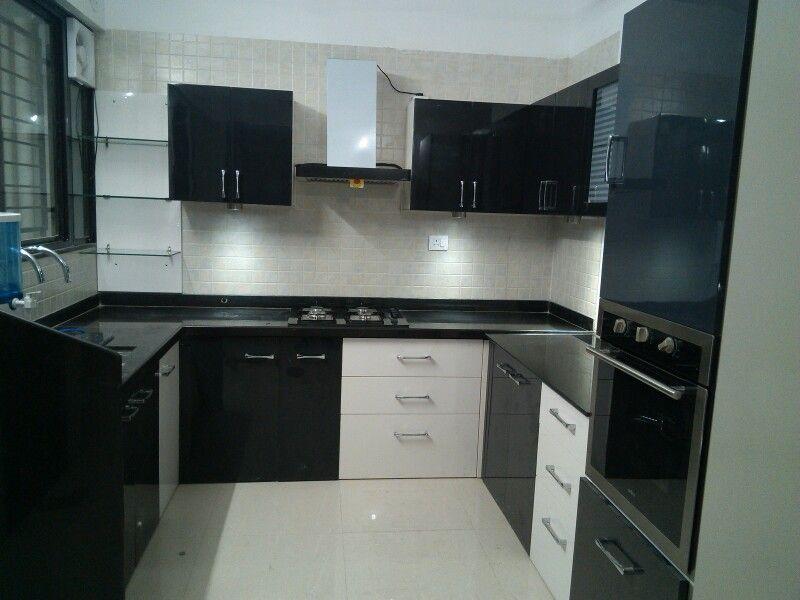 C Shaped Modular Kitchen Black White Kitchen Acrylic Kitchen Tall Unit Provision Fo Modern Kitchen Cabinet Design Kitchen Cabinet Design Elegant Kitchens
