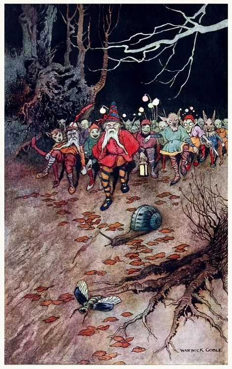 And the padding feet of many gnomes a-coming! Warwick Goble, from The book of fairy poetry, by Dora Owen, London, New York, 1920. (Source: archive.org)