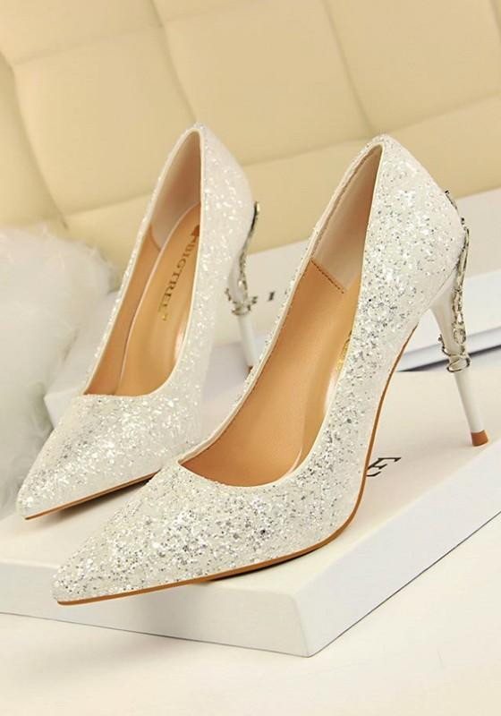 a437db0ee67 New White Point Toe Stiletto Sequin Fashion High-Heeled Shoes ...