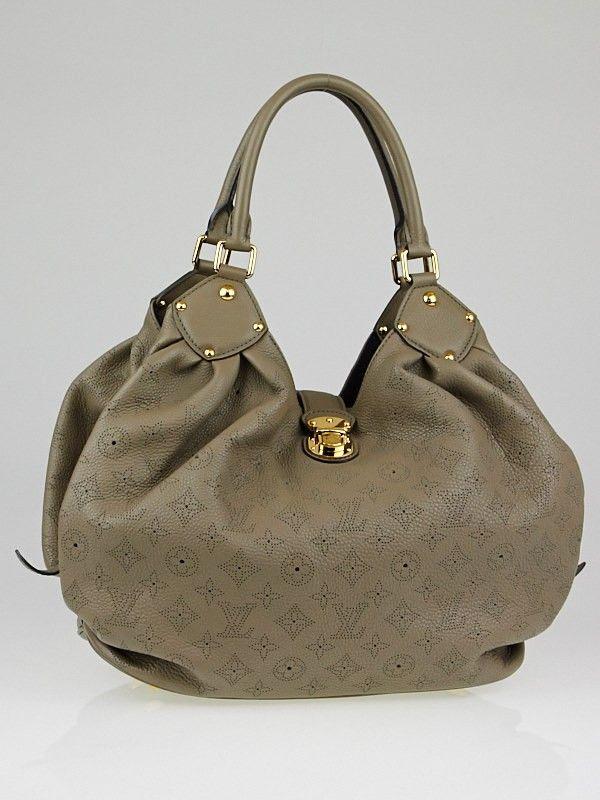 3b8a0ba8a911 Louis Vuitton Taupe Monogram Mahina Leather L Bag - Yoogi s Closet
