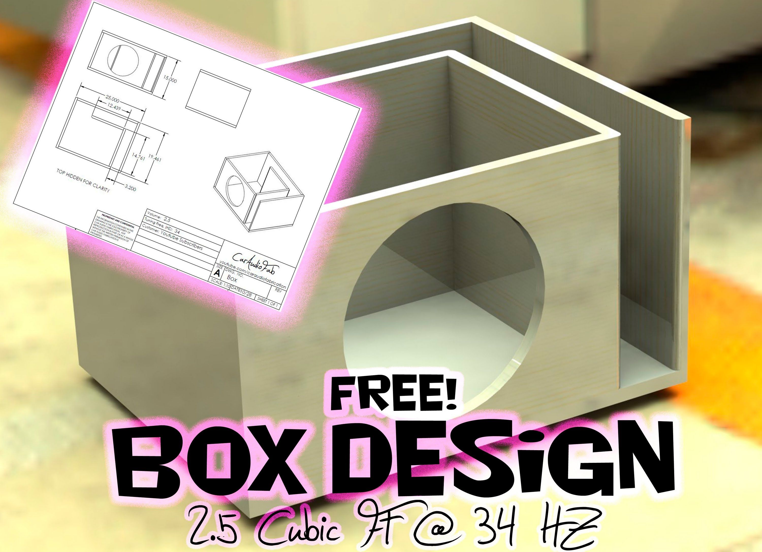 Free Sub Box Design 12 Quot Sub 2 5 Cubic Ft At 34 Hz Youtube Subwoofer Box Design Sub Box Design Diy Subwoofer Box