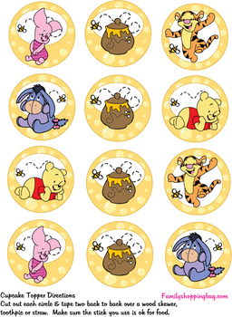 Cupcake Toppers Party Decorations Winnie The Pooh Themes Winnie The Pooh Friends Winnie The Pooh