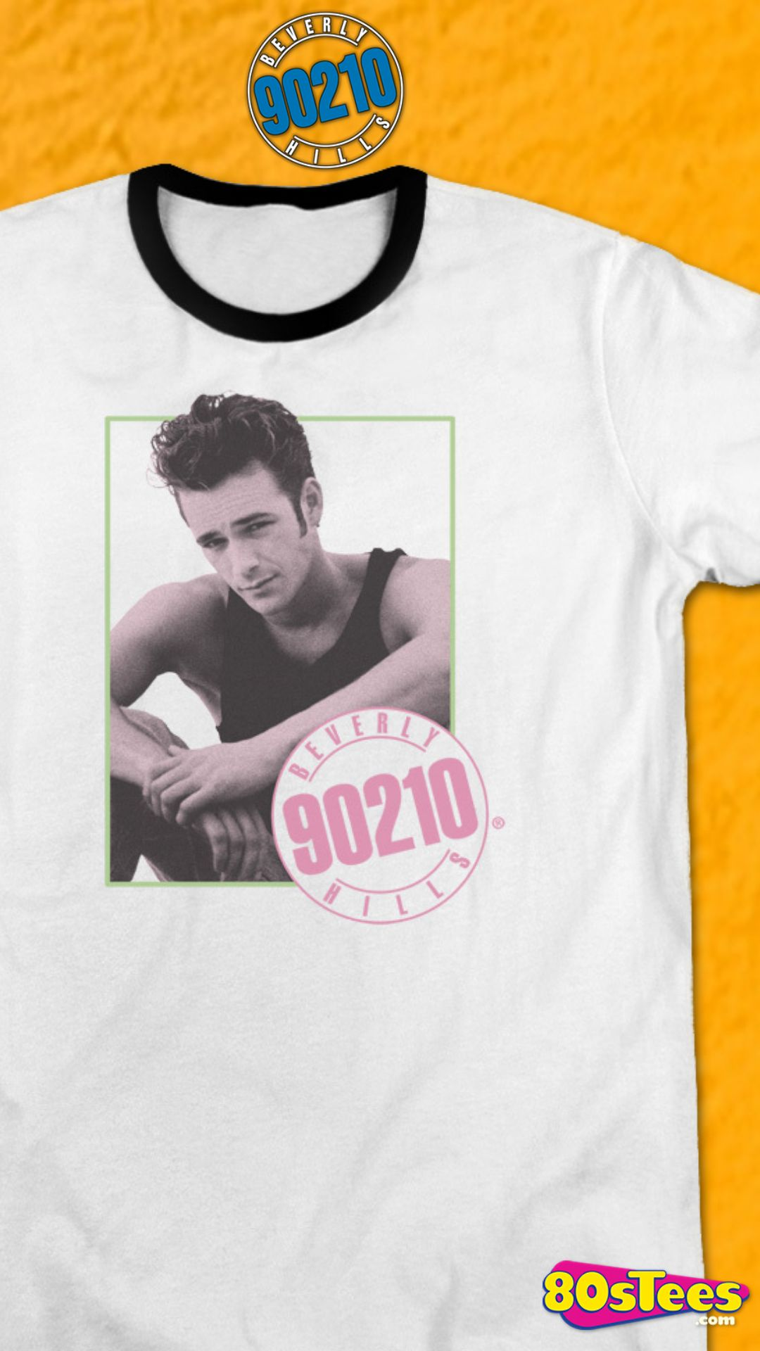 49cd49077 This Beverly Hills 90210 ringer shirt features an image of Luke Perry as the  mad,