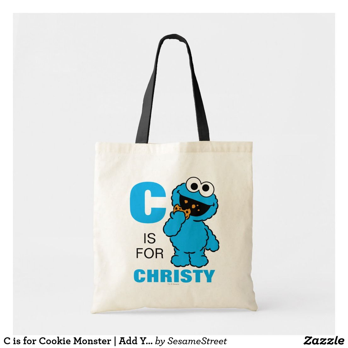 C Is For Cookie Monster Add Your Name Tote Bag Zazzle