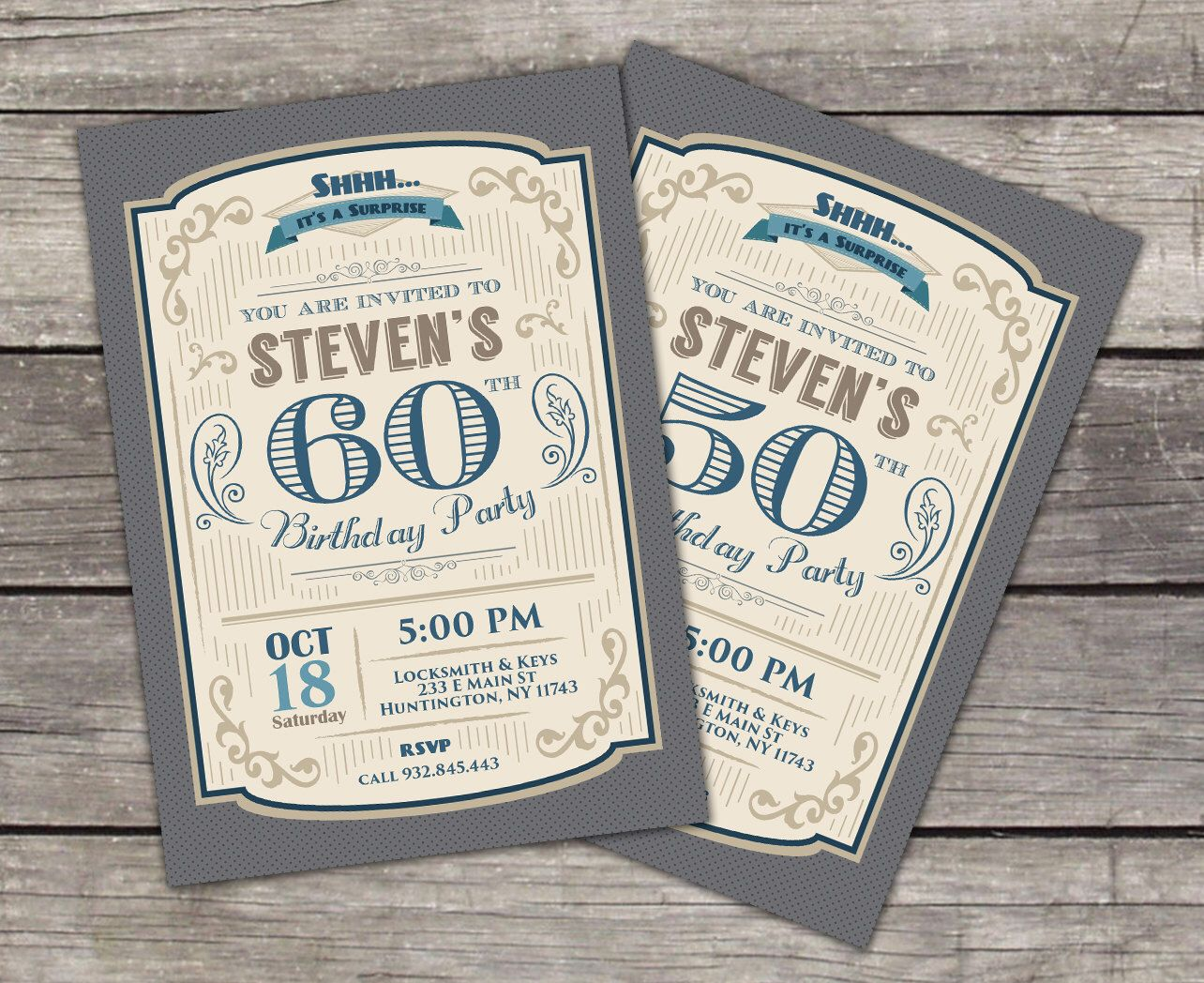 30th 40th 50th 60th 70th 80th Retro Birthday Invitation for Men ...