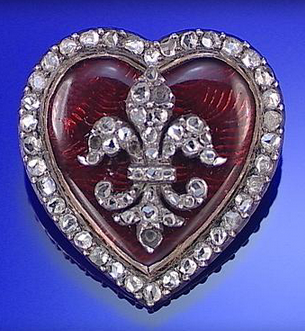 PASTE AND DIAMOND HEART SHAPED BROOCH/PENDANT, CIRCA 1900.