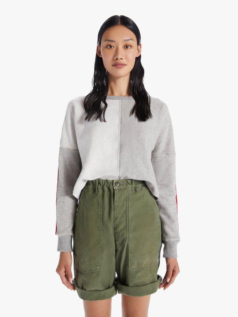 Drop Shoulder Crop Cutoff My Favorite Souvenir Grey In 2021 Crew Neck Sweatshirt Mother Denim Grey Sweatshirt [ 1024 x 770 Pixel ]