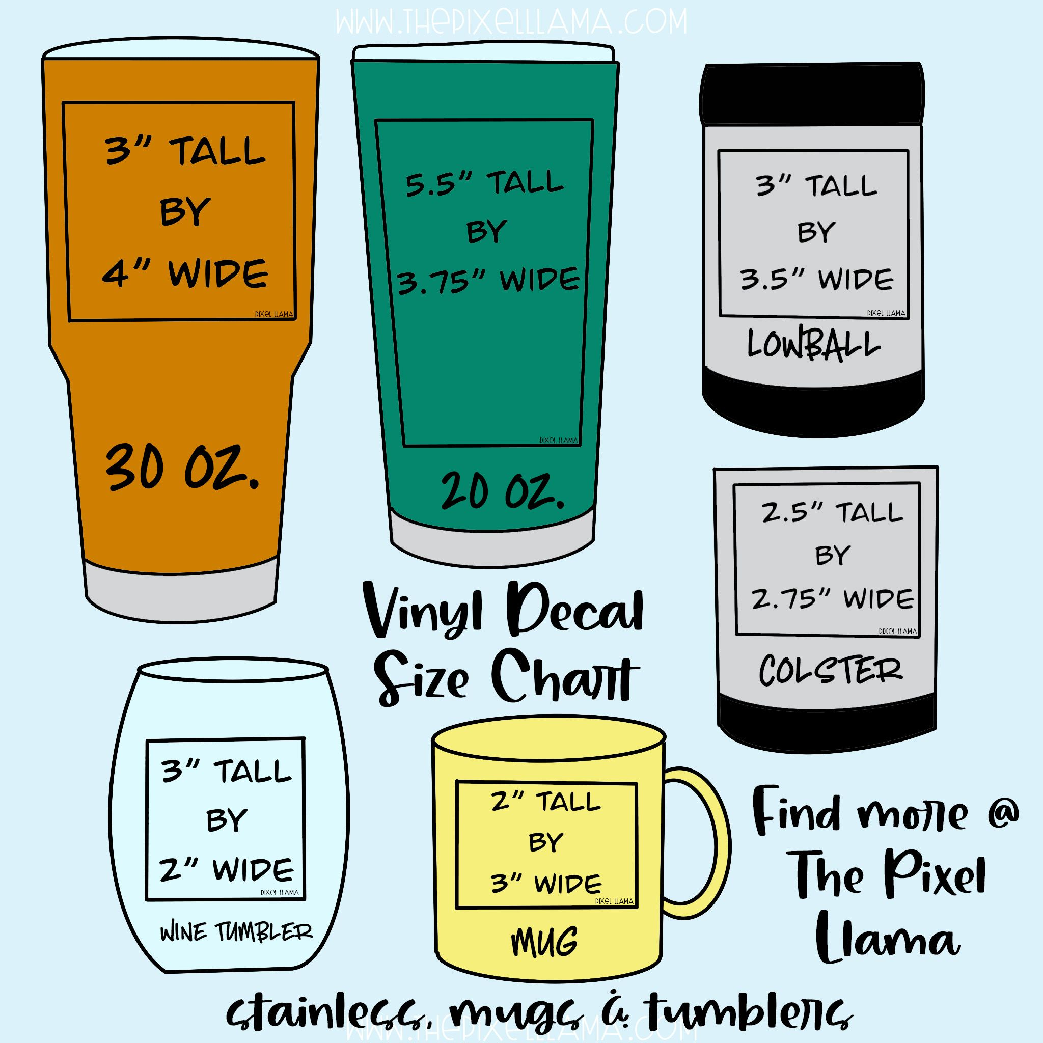 Vinyl Decal Size Chart for Cups Cricut projects vinyl
