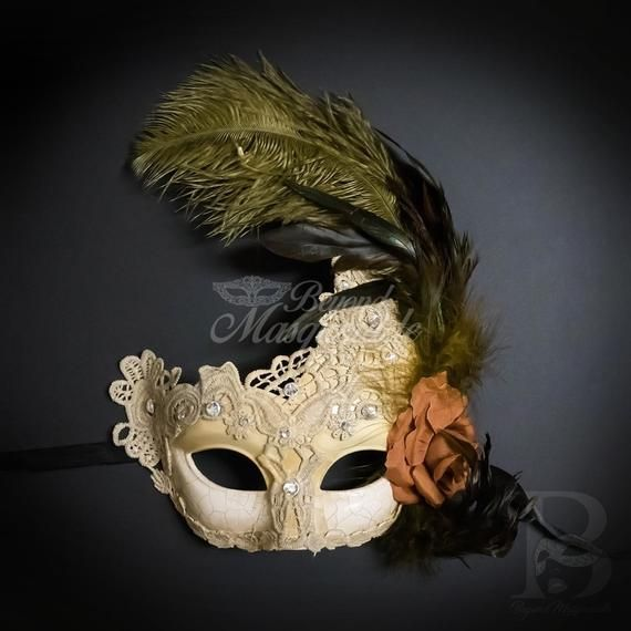 .Feather Masquerade Mask, Masquerade Mask, Ivory Gold Masquerade Mask with Feathers, Mardi Gras Mask, #Brown #CREAM #Feather #Feathers #gold #Golden #gras #ivory #mardi #mask #masquerade #Masquerade mask elegant