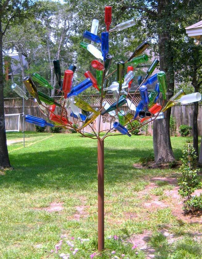 A bottle tree won't produce any new bottles of wine for you to enjoy, but it will look crafty and cool in your yard.