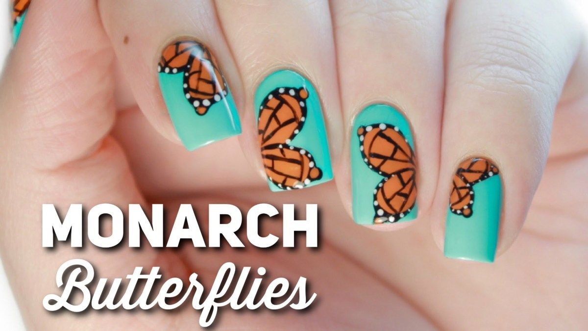 Monarch Butterfly Nail Art Easy Nail Art for Spring Todays nail art
