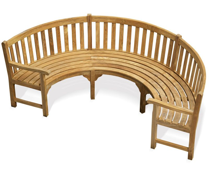 Henley Teak Curved Bench With Arms