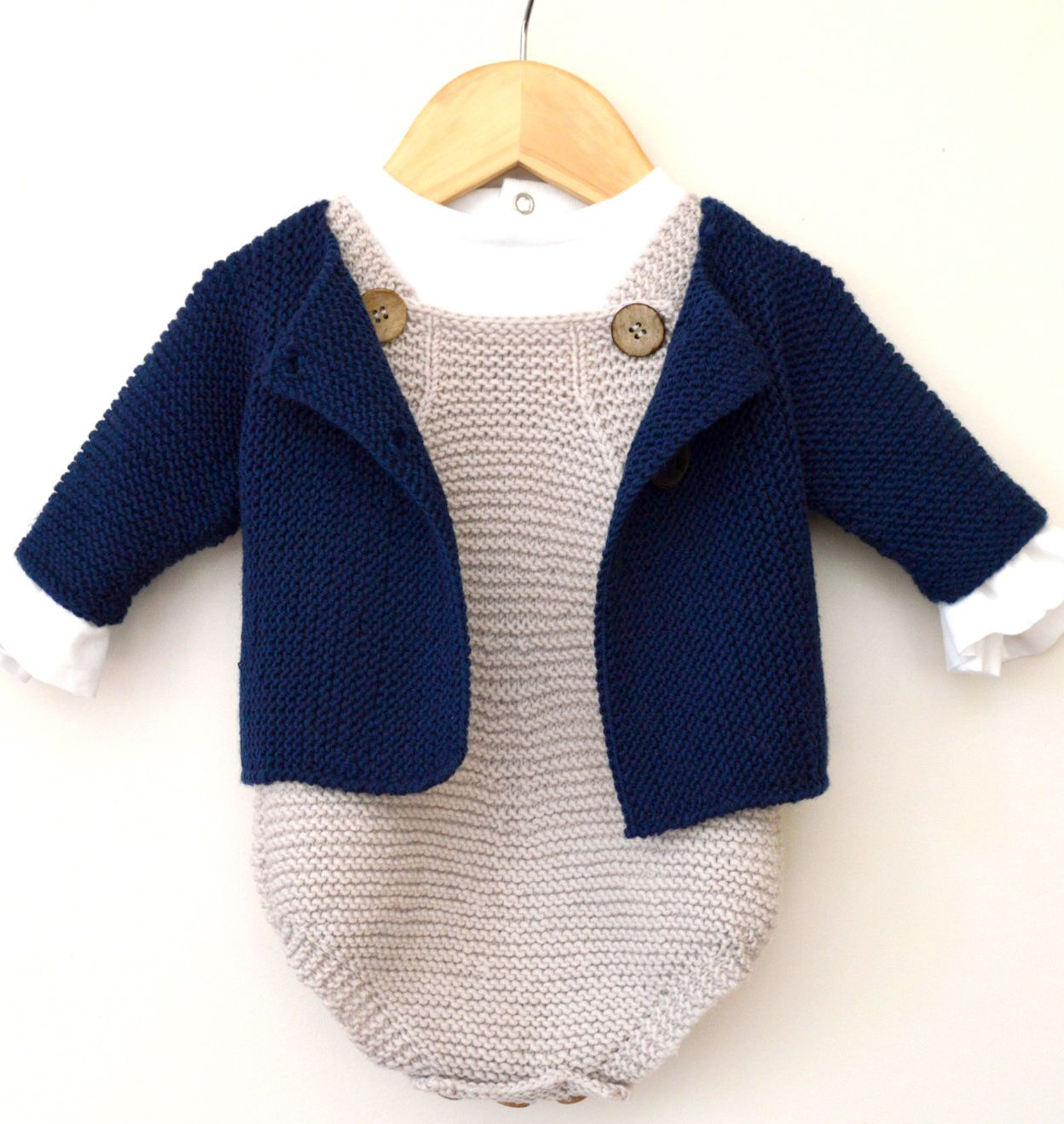 Knitting Pattern For Baby Rompers And Jacket Set Ad